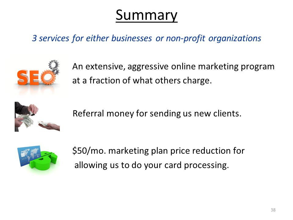 38 Summary 3 services for either businesses or non-profit organizations An extensive, aggressive online marketing program at a fraction of what others charge.