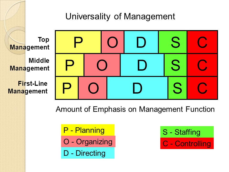 Top Management Middle Management First-Line Management PODSC P P O O D DS S C C P - Planning O - Organizing Amount of Emphasis on Management Function