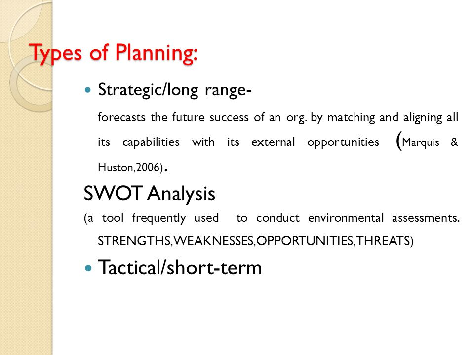 Types of Planning: Strategic/long range- forecasts the future success of an org. by matching and aligning all its capabilities with its external oppor