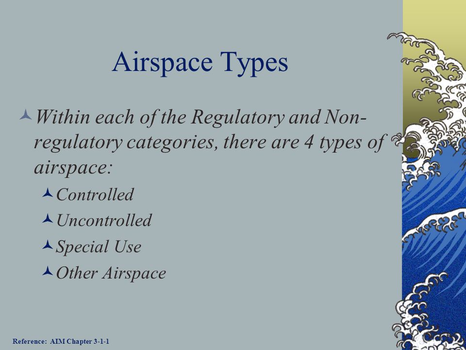 Airspace Categories Regulatory Class A, B, C, D, & E airspace areas Restricted areas Prohibited areas Non-regulatory Military Operations Areas (MOAs)