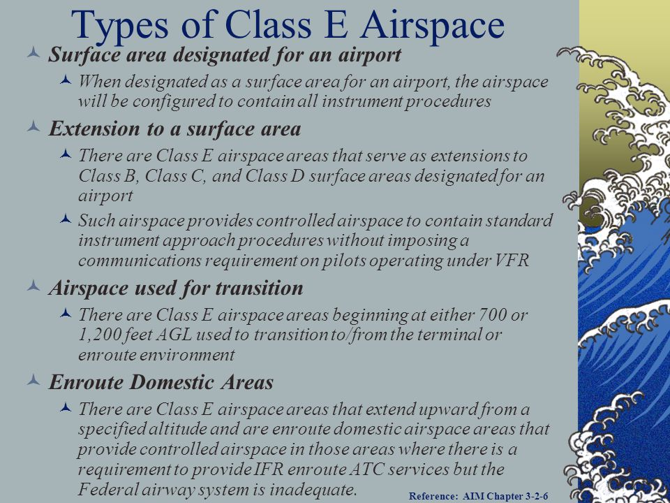 Class Echo Airspace Generally, if the airspace is not Class A, Class B, Class C, or Class D, and it is controlled airspace, it is Class E airspace Exc