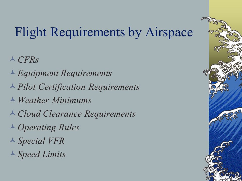 Flight Operations and Requirements with Regards to Airspaces Now that we have learned how to identify the various types of airspaces, lets take a look