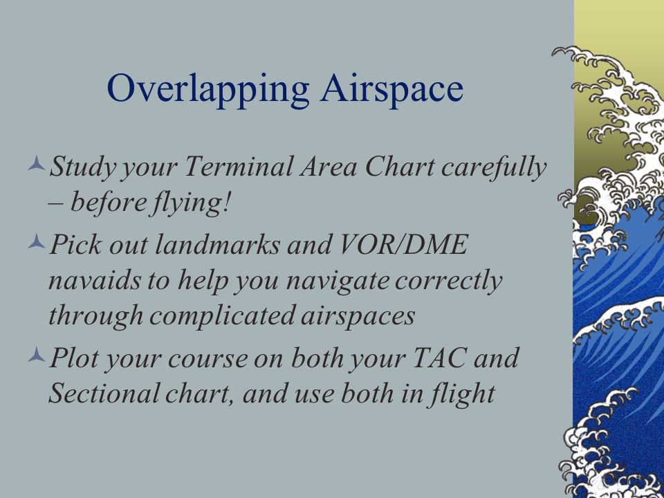 Hierarchy of Overlapping Airspace Designations When overlapping airspace designations apply to the same airspace, the operating rules associated with