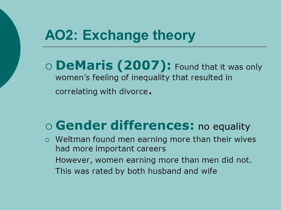 AO2: Exchange theory DeMaris (2007): Found that it was only womens feeling of inequality that resulted in correlating with divorce. Gender differences