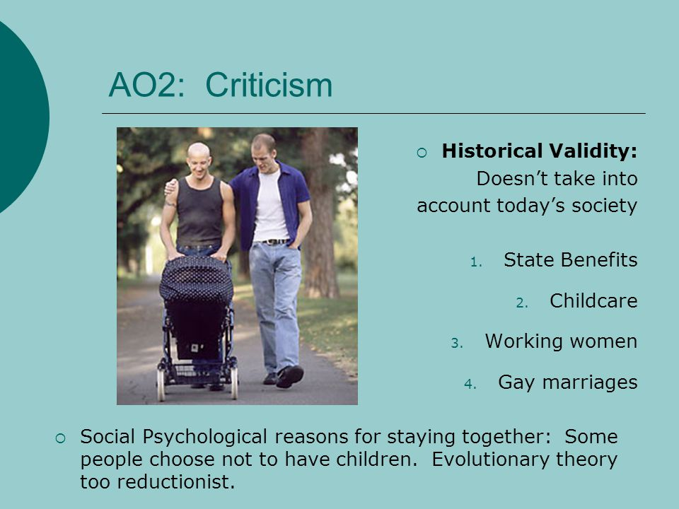 AO2: Criticism Historical Validity: Doesnt take into account todays society 1. State Benefits 2. Childcare 3. Working women 4. Gay marriages Social Ps