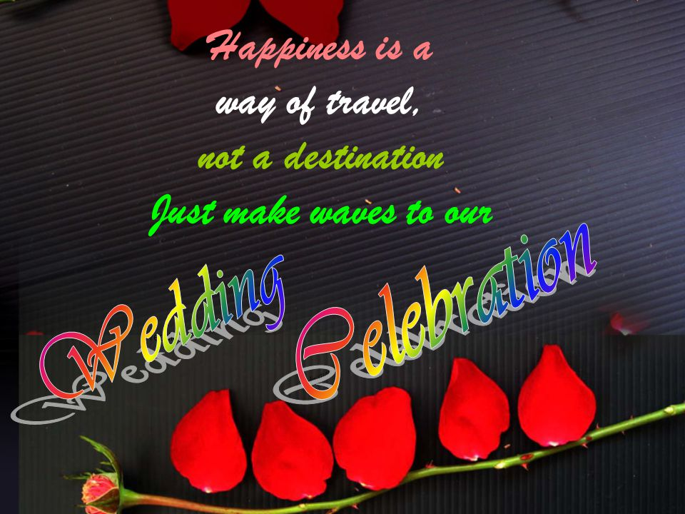 Happiness is a way of travel, not a destination Just make waves to our Wedding Celebration