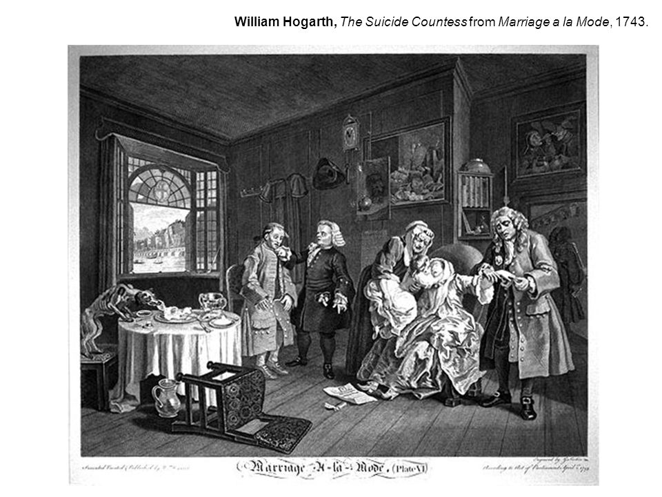 William Hogarth, The Suicide Countess from Marriage a la Mode, 1743.