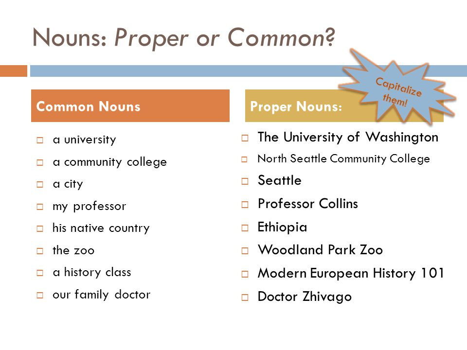 Nouns: Proper or Common.