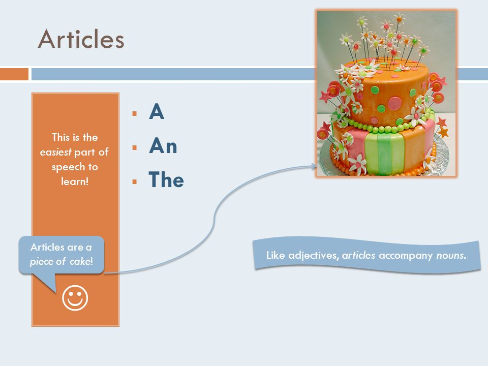 Articles This is the easiest part of speech to learn.