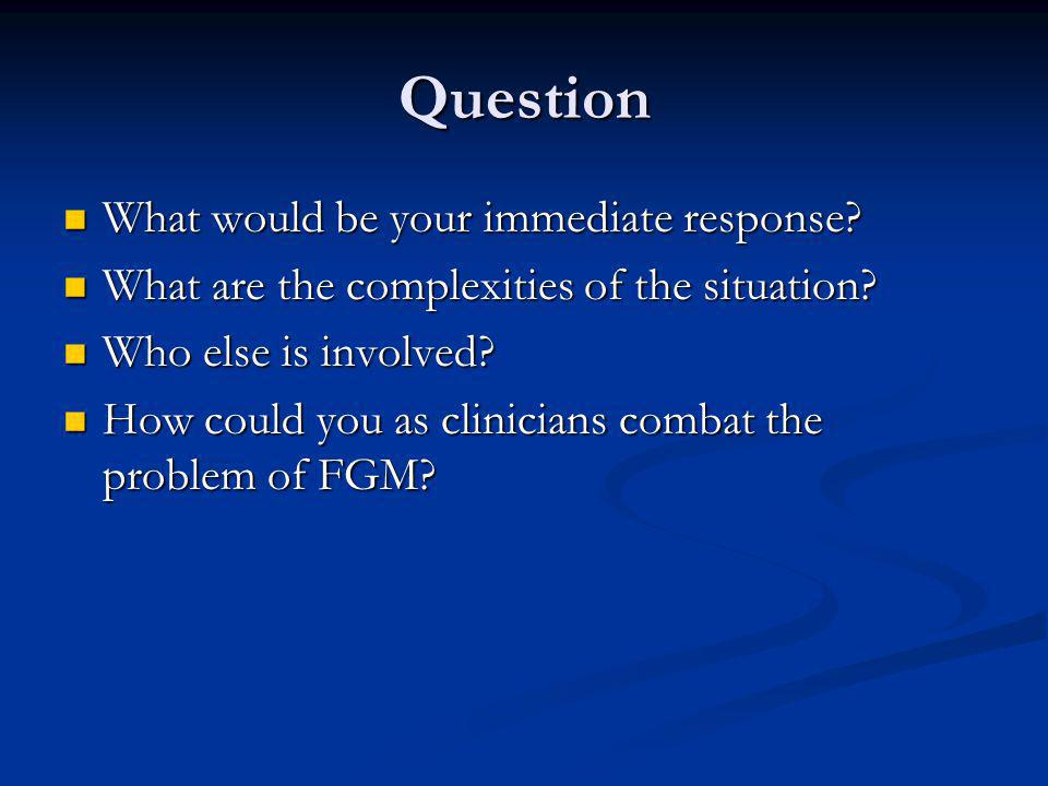 Question What would be your immediate response? What would be your immediate response? What are the complexities of the situation? What are the comple
