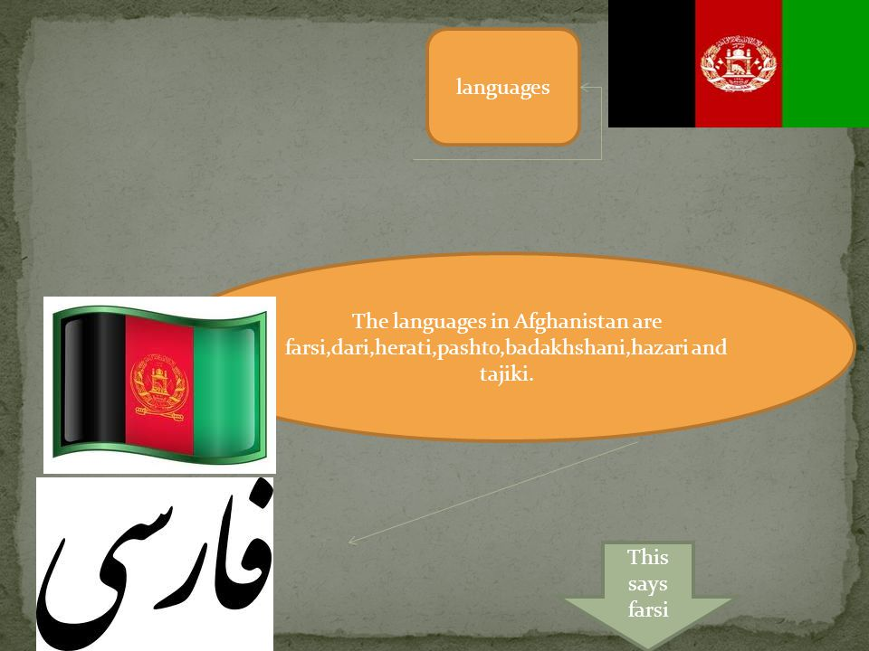 languages The languages in Afghanistan are farsi,dari,herati,pashto,badakhshani,hazari and tajiki.