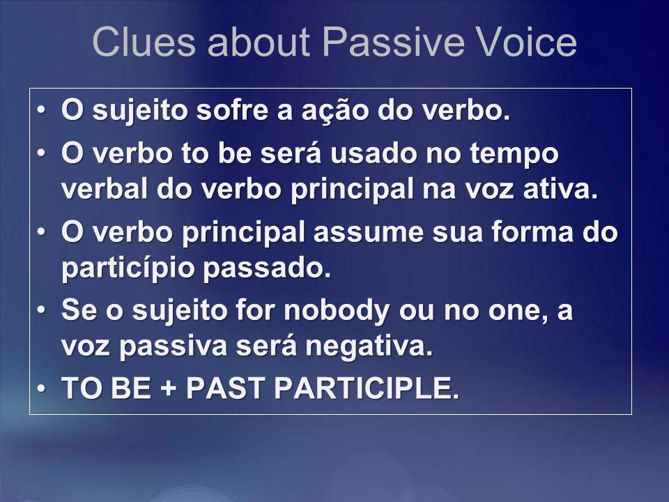 Clues about Passive Voice O sujeito sofre a ação do verbo.O sujeito sofre a ação do verbo. O verbo to be será usado no tempo verbal do verbo principal