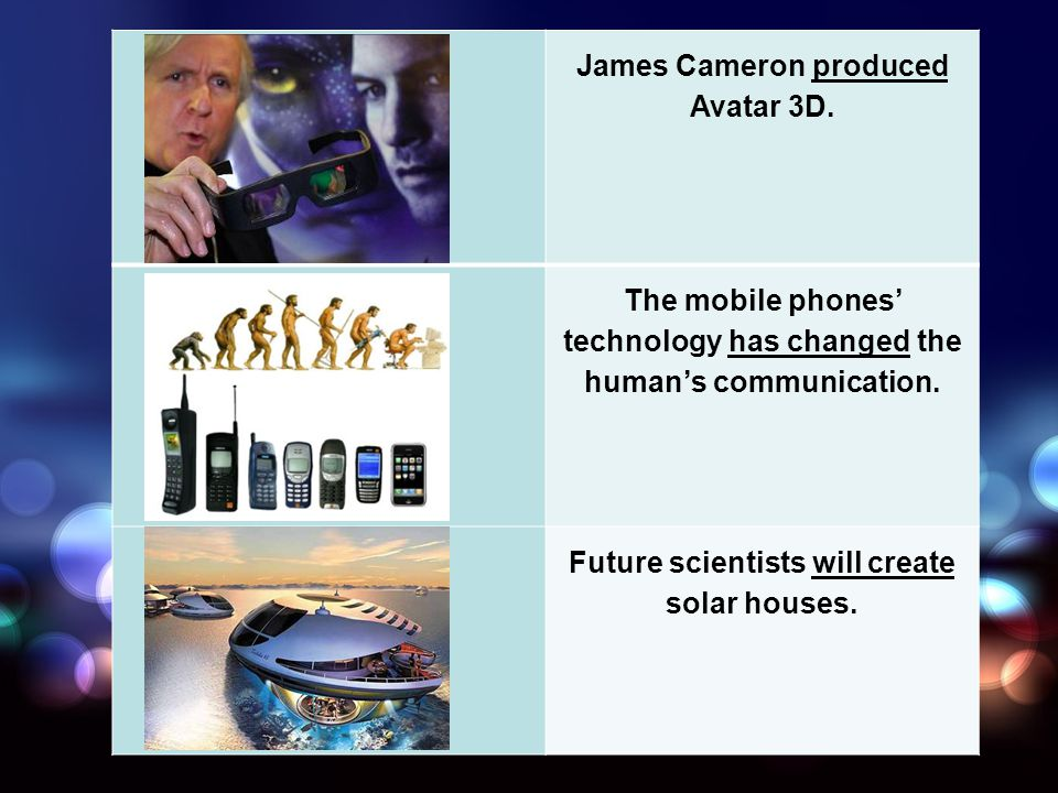 James Cameron produced Avatar 3D. The mobile phones technology has changed the humans communication. Future scientists will create solar houses.