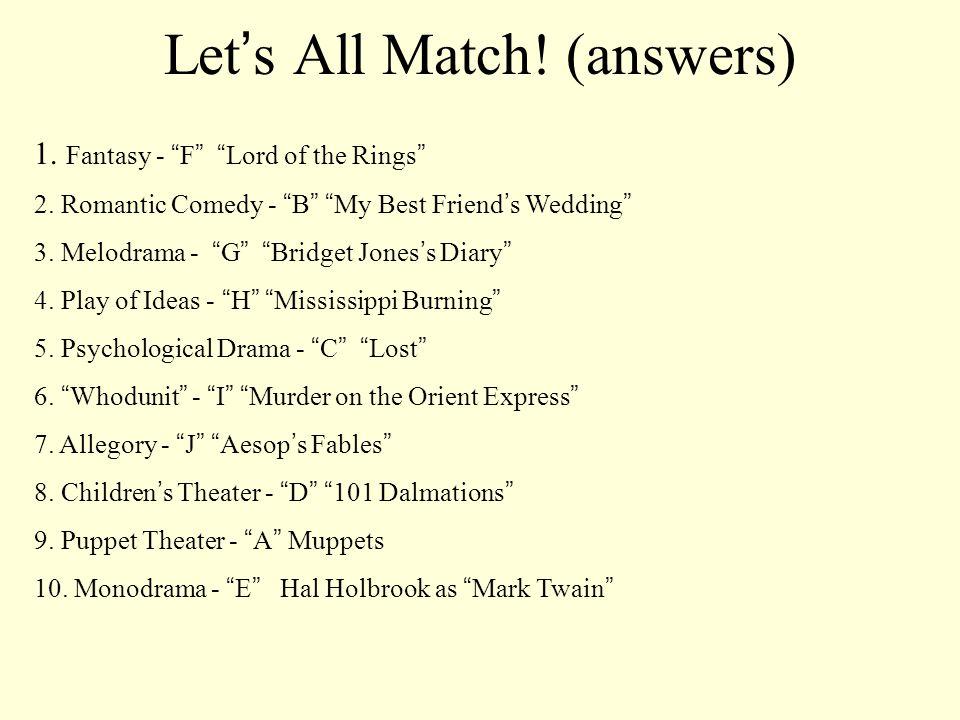 Let s All Match! (answers) 1. Fantasy - F Lord of the Rings 2. Romantic Comedy - B My Best Friend s Wedding 3. Melodrama - G Bridget Jones s Diary 4.