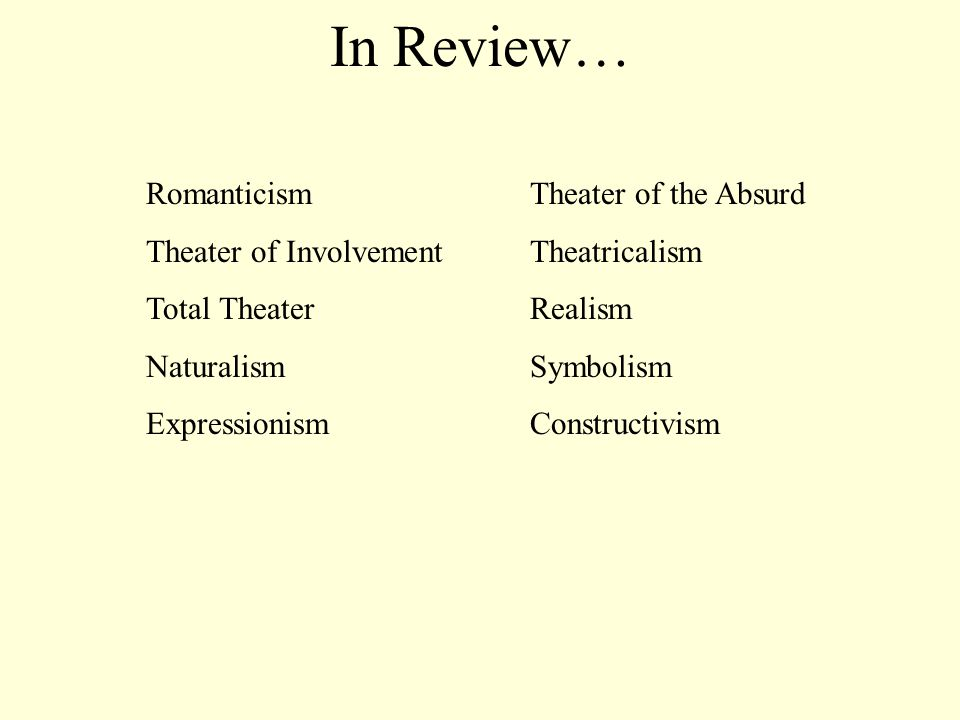 In Review… Romanticism Theater of the Absurd Theater of InvolvementTheatricalism Total TheaterRealism NaturalismSymbolism ExpressionismConstructivism