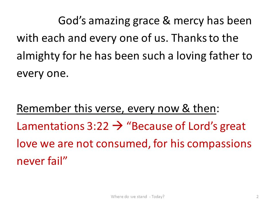 Gods amazing grace & mercy has been with each and every one of us. Thanks to the almighty for he has been such a loving father to every one. Remember