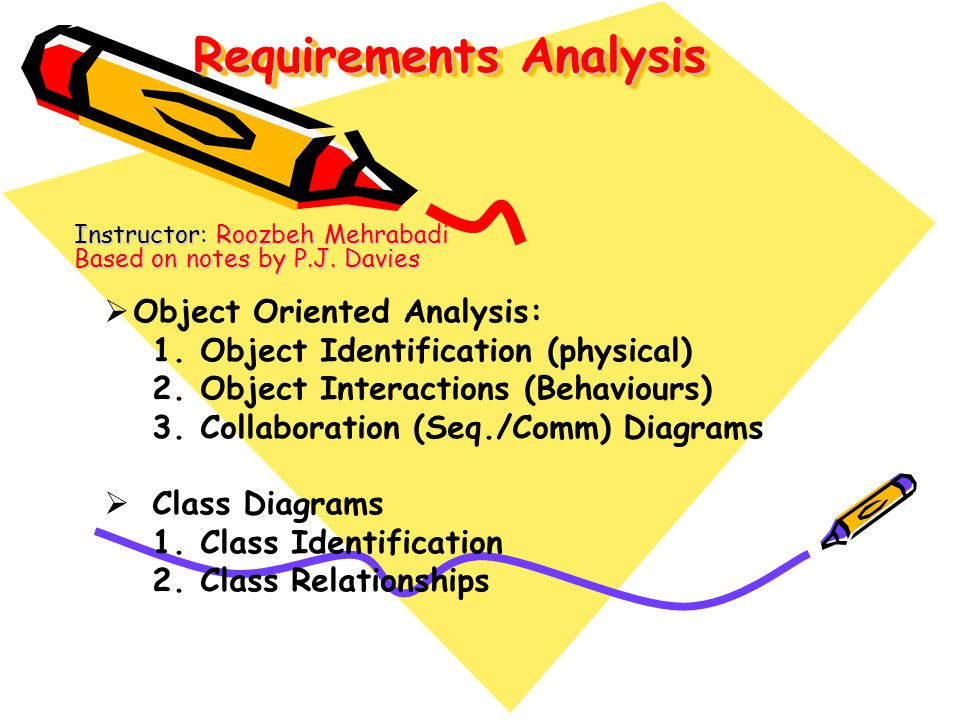 Requirements Analysis Instructor: Roozbeh Mehrabadi Based on notes by P.J. Davies Object Oriented Analysis: 1.Object Identification (physical) 2.Objec