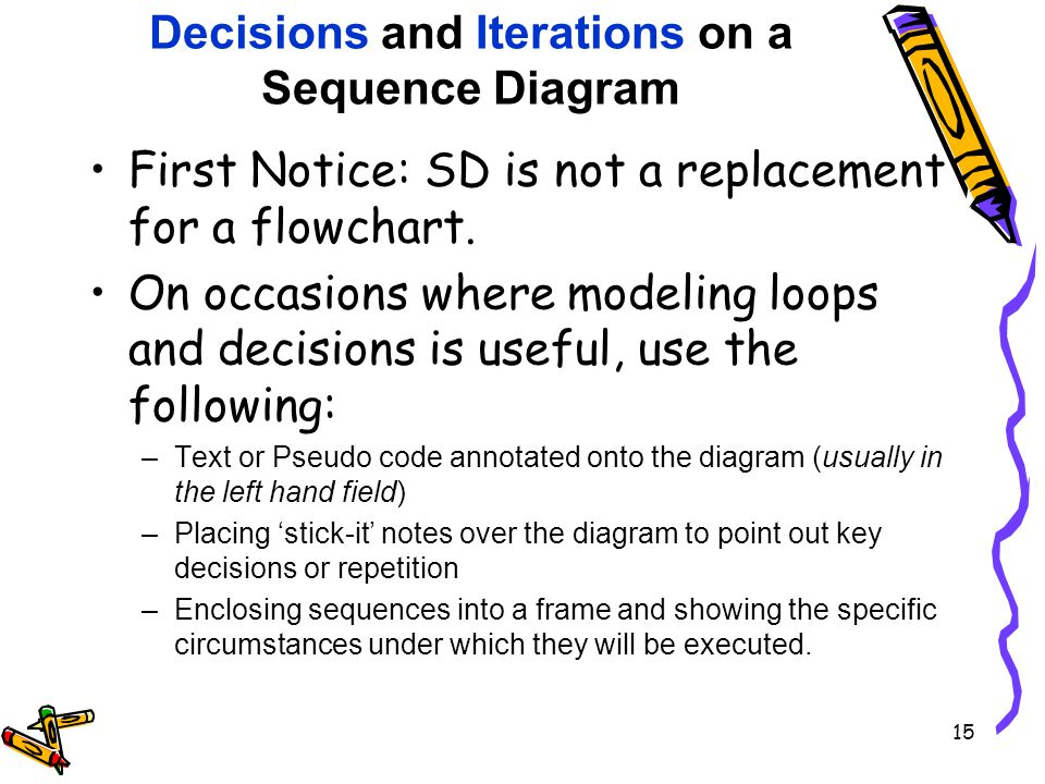 Decisions and Iterations on a Sequence Diagram First Notice: SD is not a replacement for a flowchart.