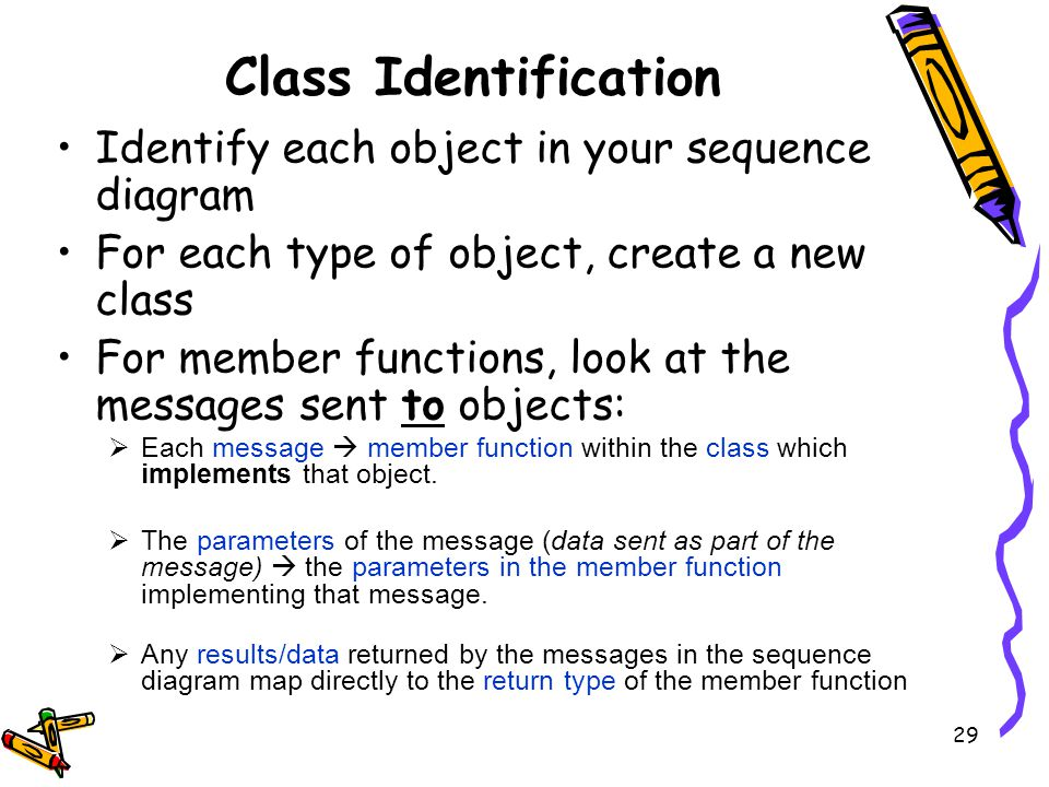 Class Identification Identify each object in your sequence diagram For each type of object, create a new class For member functions, look at the messages sent to objects: Each message member function within the class which implements that object.