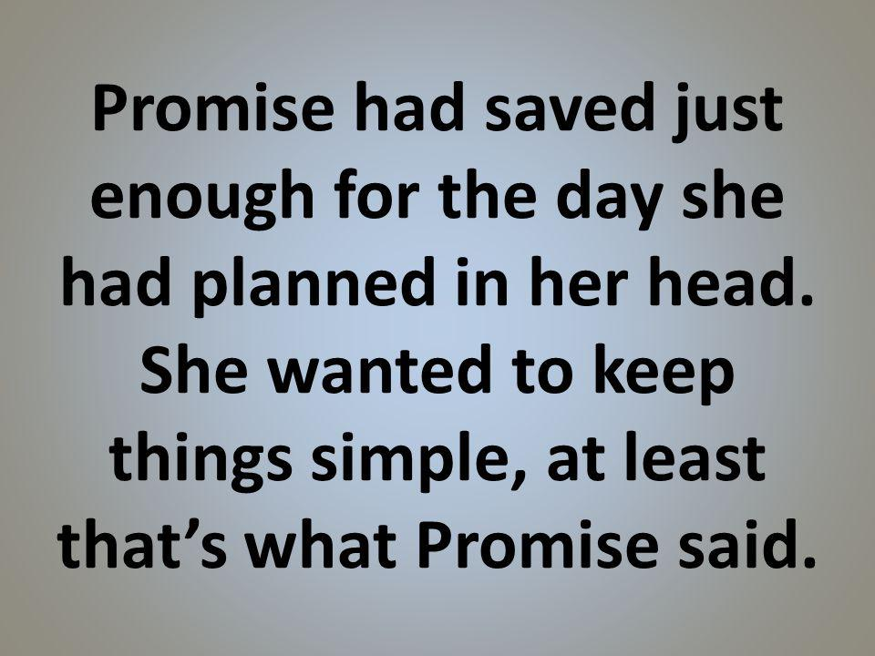 Promise had saved just enough for the day she had planned in her head.