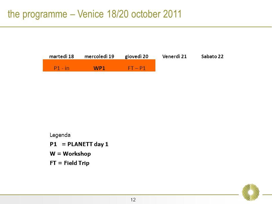 12 the programme – Venice 18/20 october 2011 martedì 18mercoledì 19giovedì 20Venerdì 21Sabato 22 P1 - inWP1FT – P1 Legenda P1 = PLANETT day 1 W = Workshop FT = Field Trip