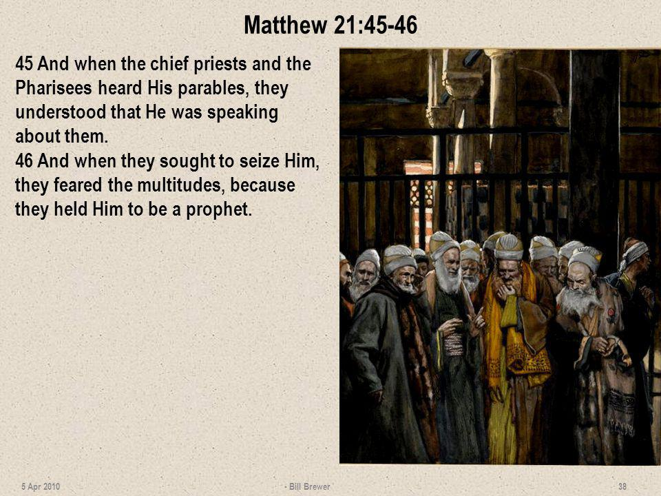 Matthew 21:45-46 45 And when the chief priests and the Pharisees heard His parables, they understood that He was speaking about them. 46 And when they