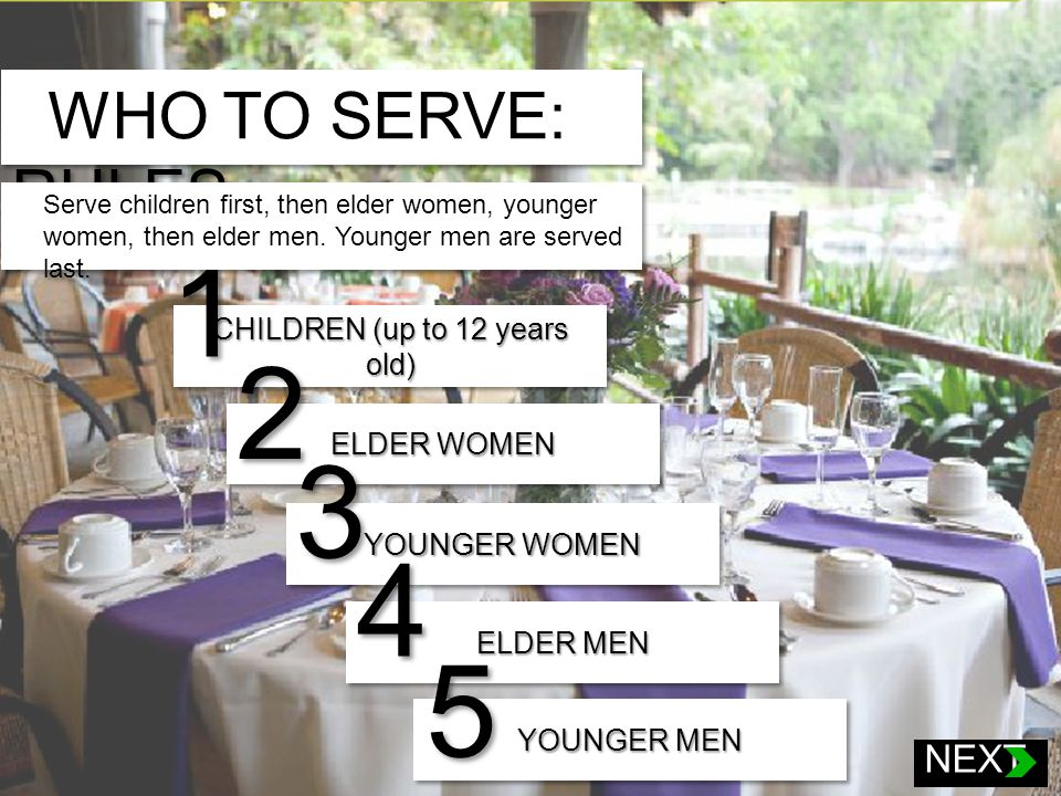 CHILDREN (up to 12 years old) 1 ELDER WOMEN 2 1.Children (up to 12 years old) 2.Elder women 3.Younger women 4.Elder men 5.Younger men YOUNGER WOMEN 3 ELDER MEN 4 YOUNGER MEN 5 WHO TO SERVE: RULES Serve children first, then elder women, younger women, then elder men.