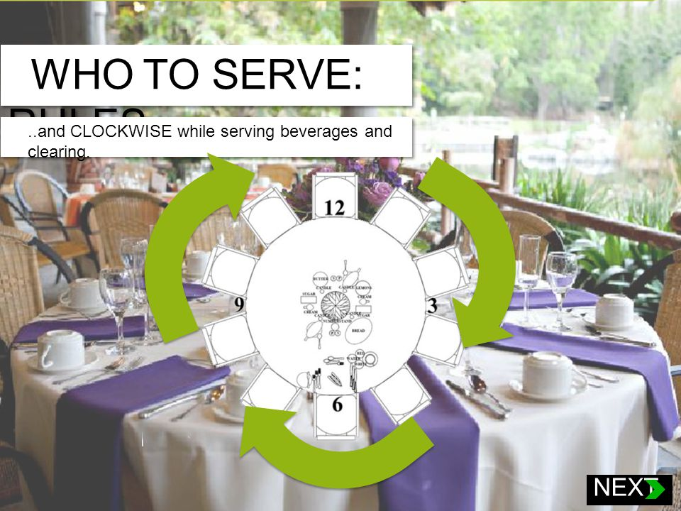 WHO TO SERVE: RULES Now that you know where to find the information that you need for an event, the next step is to know who to serve once the guests are seated.