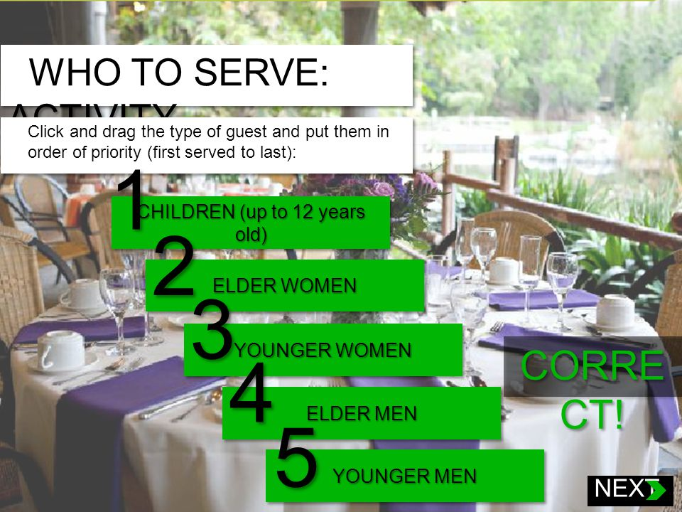 WHO TO SERVE: ACTIVITY Click and drag the type of guest and put them in order of priority (first served to last): Click and drag the following types of guests and put them in order of priority: Children Elder women Younger women Elder men Younger men CHILDREN (up to 12 years old) 1 ELDER WOMEN 2 YOUNGER WOMEN 3 ELDER MEN 4 YOUNGER MEN 5 CORRE CT.
