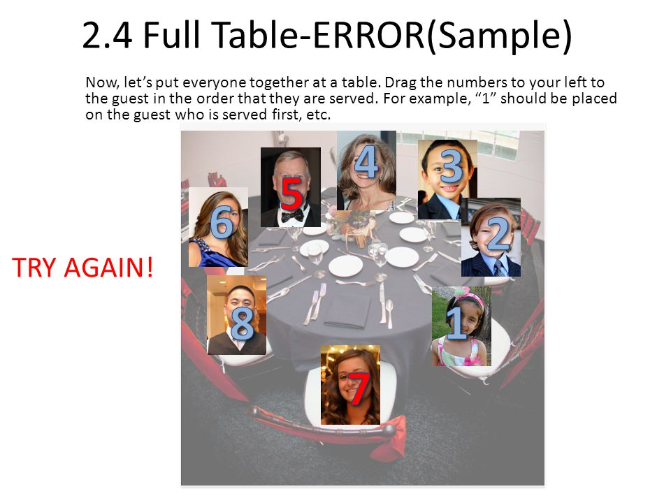 2.4 Full Table-ERROR(Sample) Now, lets put everyone together at a table.
