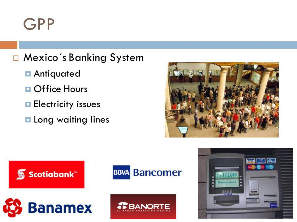 GPP Mexico´s Banking System Antiquated Office Hours Electricity issues Long waiting lines