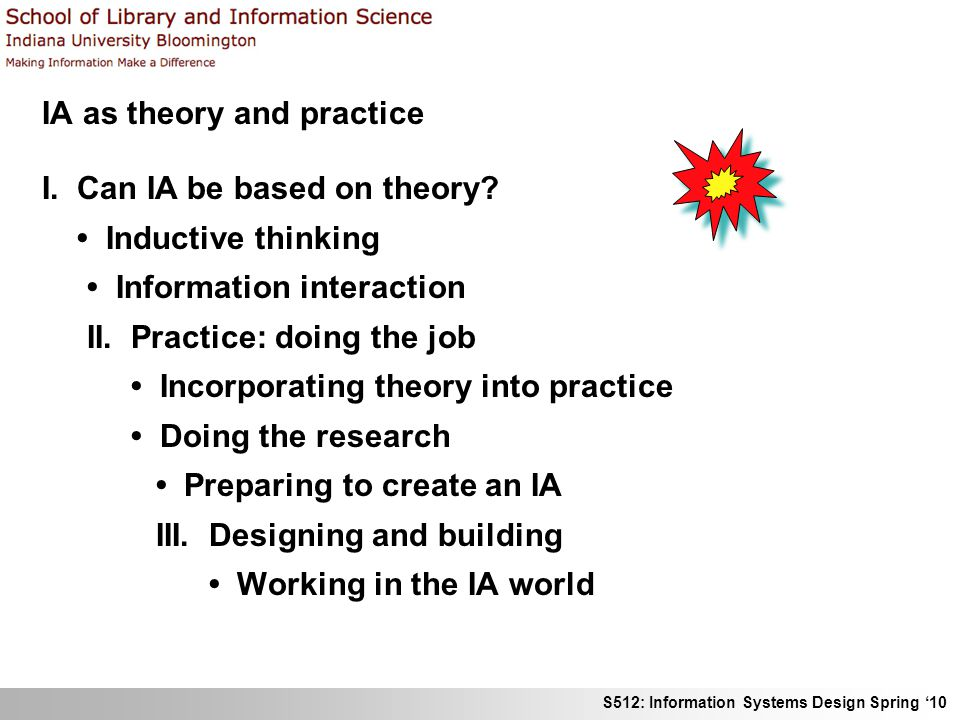 S512: Information Systems Design Spring 10 IA as theory and practice I. Can IA be based on theory? Inductive thinking Information interaction II. Prac