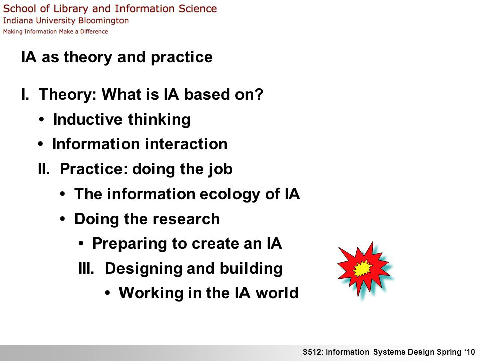 S512: Information Systems Design Spring 10 IA as theory and practice I. Theory: What is IA based on? Inductive thinking Information interaction II. Pr