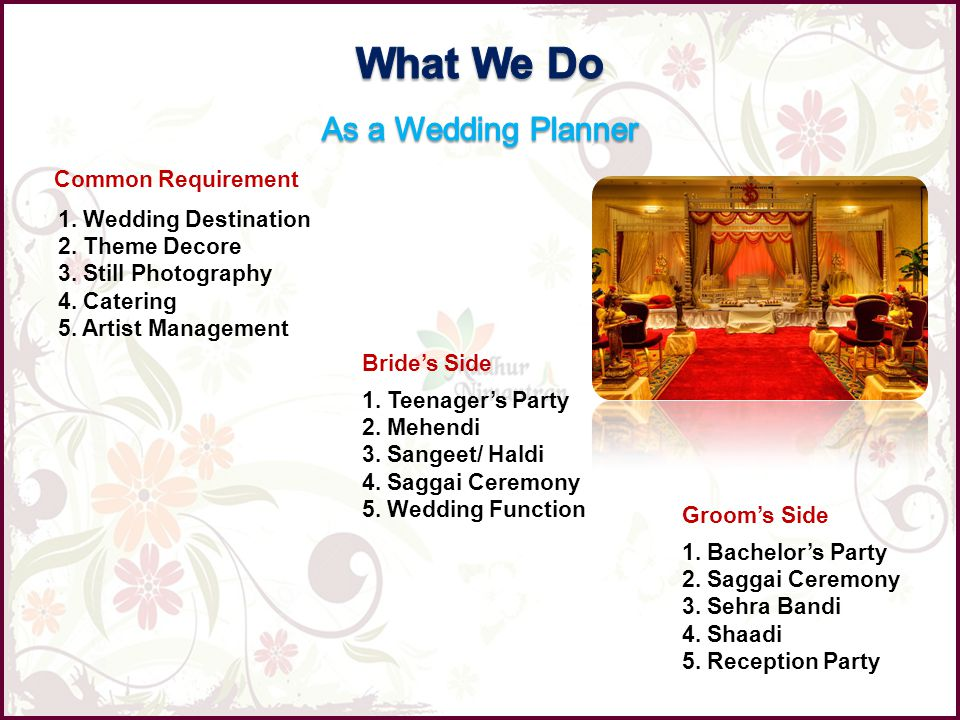Common Requirement 1. Wedding Destination 2. Theme Decore 3. Still Photography 4. Catering 5. Artist Management Brides Side 1. Teenagers Party 2. Mehe