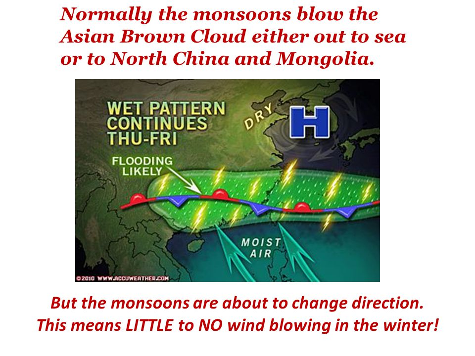 Normally the monsoons blow the Asian Brown Cloud either out to sea or to North China and Mongolia.