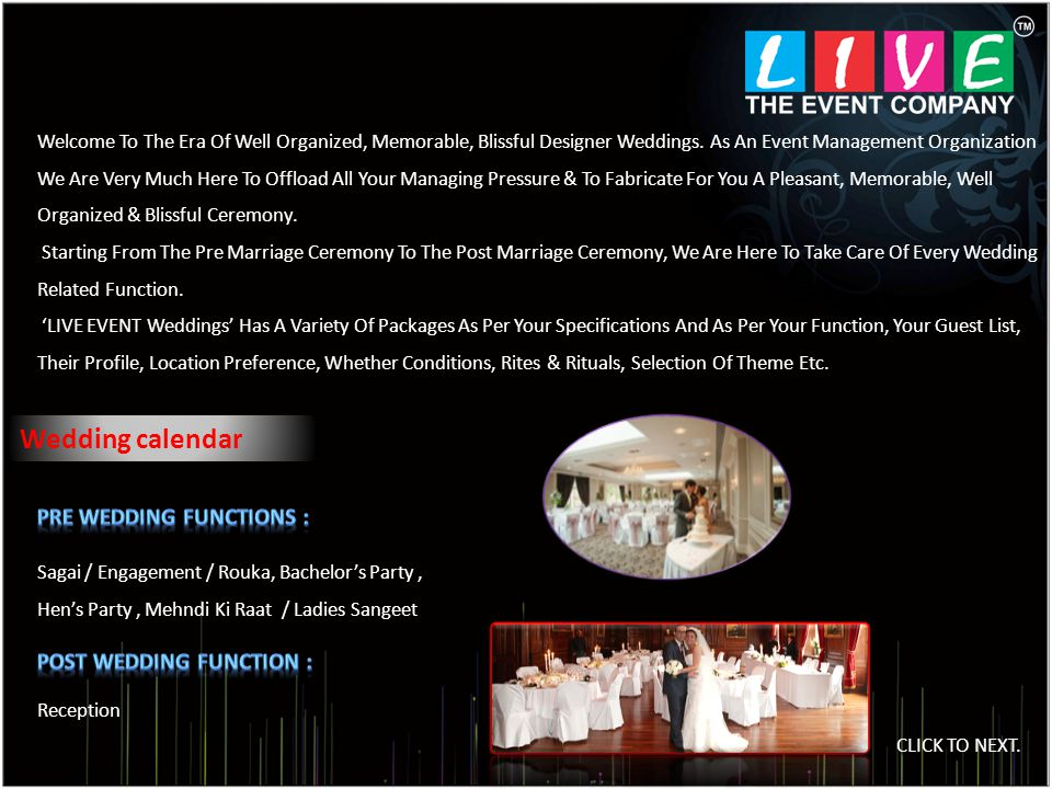 Wedding calendar Welcome To The Era Of Well Organized, Memorable, Blissful Designer Weddings.