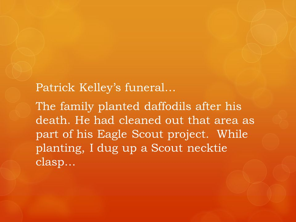 Patrick Kelleys funeral… The family planted daffodils after his death.