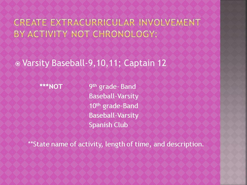 Varsity Baseball-9,10,11; Captain 12 ***NOT 9 th grade- Band Baseball-Varsity 10 th grade-Band Baseball-Varsity Spanish Club **State name of activity,