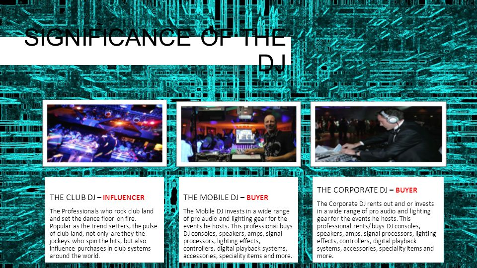 SIGNIFICANCE OF THE DJ THE CLUB DJ – INFLUENCER The Professionals who rock club land and set the dance floor on fire. Popular as the trend setters, th
