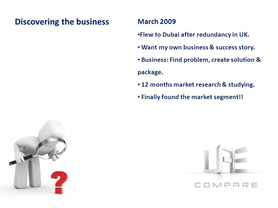 March 2009 Flew to Dubai after redundancy in UK. Want my own business & success story.