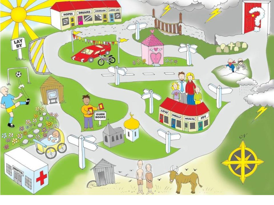 Pick a route: Notice the starting point – the baby in the pram leaving the hospital.
