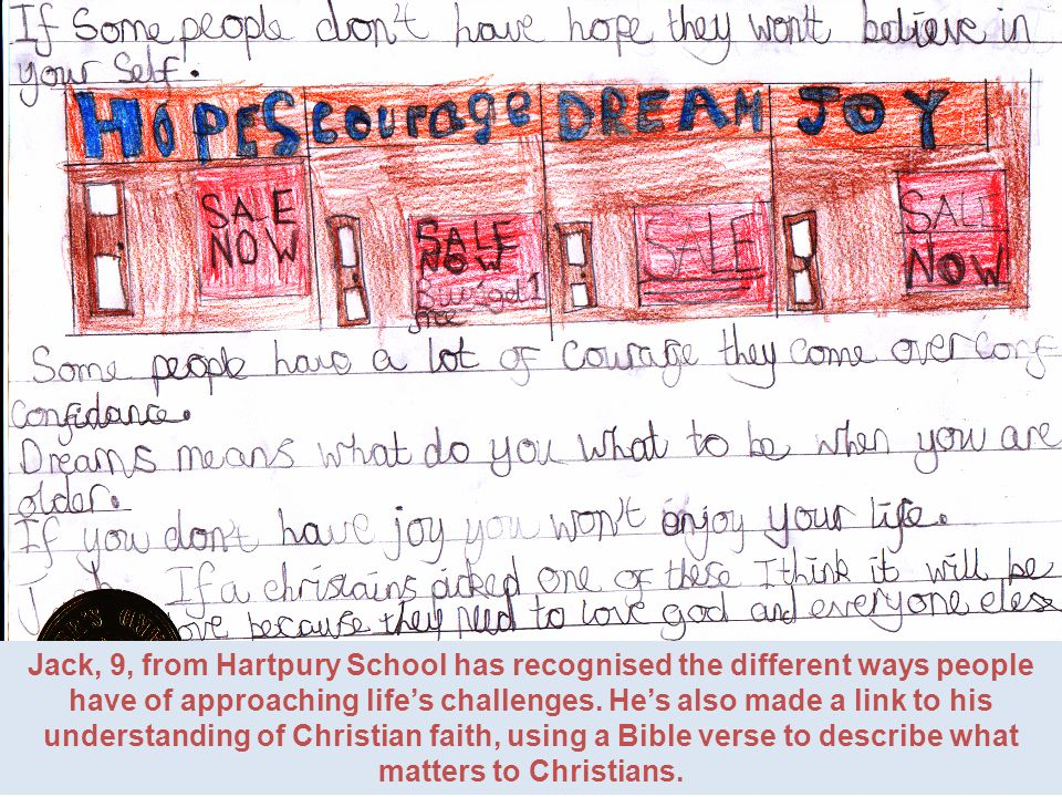 Jack, 9, from Hartpury School has recognised the different ways people have of approaching lifes challenges.