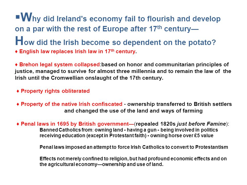 W hy did Ireland s economy fail to flourish and develop on a par with the rest of Europe after 17 th century H ow did the Irish become so dependent on the potato.