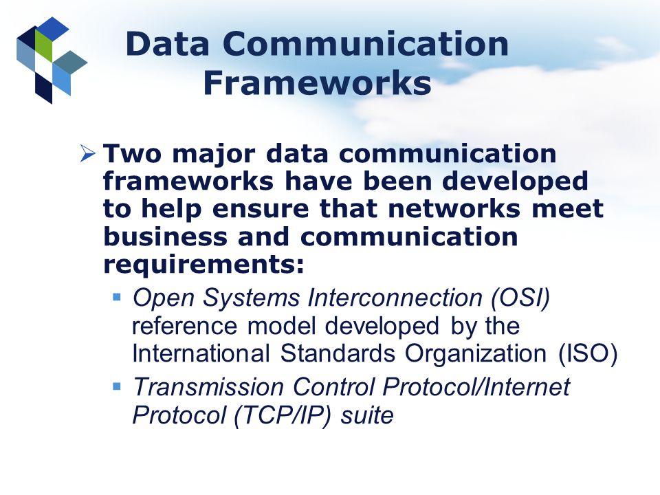 Data Communication Frameworks Two major data communication frameworks have been developed to help ensure that networks meet business and communication