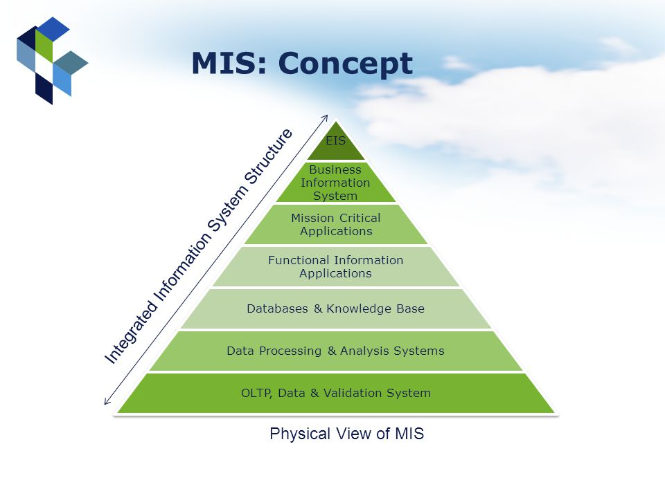 MIS: Concept EIS Business Information System Mission Critical Applications Functional Information Applications Databases & Knowledge Base Data Process