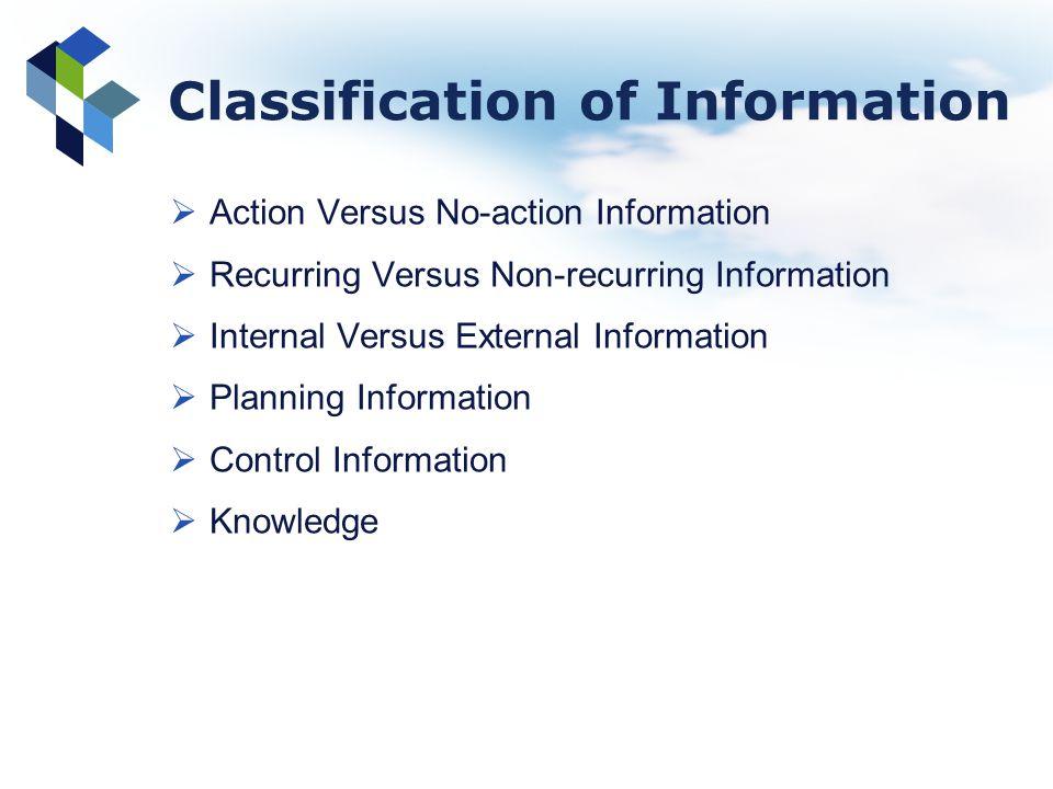 Classification of Information Action Versus No-action Information Recurring Versus Non-recurring Information Internal Versus External Information Plan