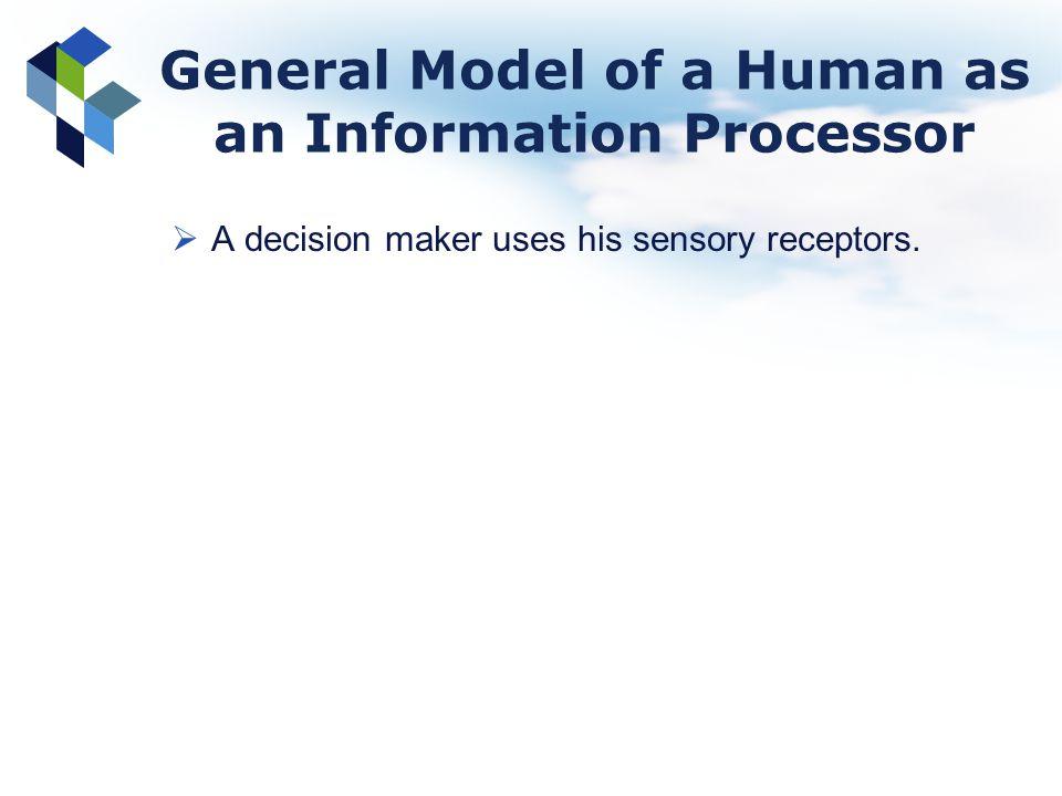 General Model of a Human as an Information Processor A decision maker uses his sensory receptors.