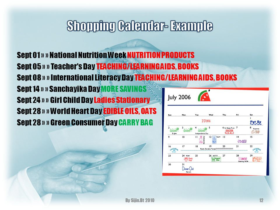 Sept 01 » » National Nutrition Week NUTRITION PRODUCTS Sept 05 » » Teacher's Day TEACHING/LEARNING AIDS, BOOKS Sept 08 » » International Literacy Day