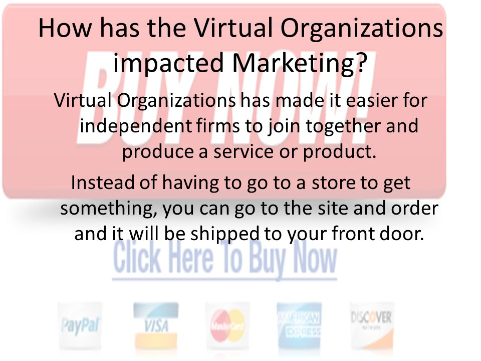 An example of a marketing site using virtual organizations is amazon.com.