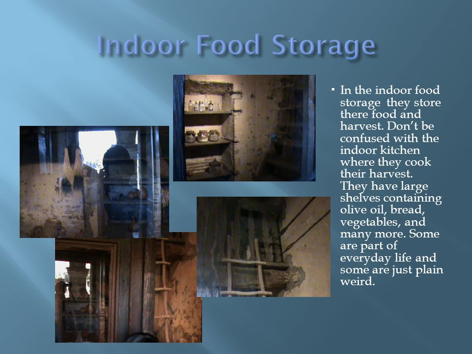 In the indoor food storage they store there food and harvest.